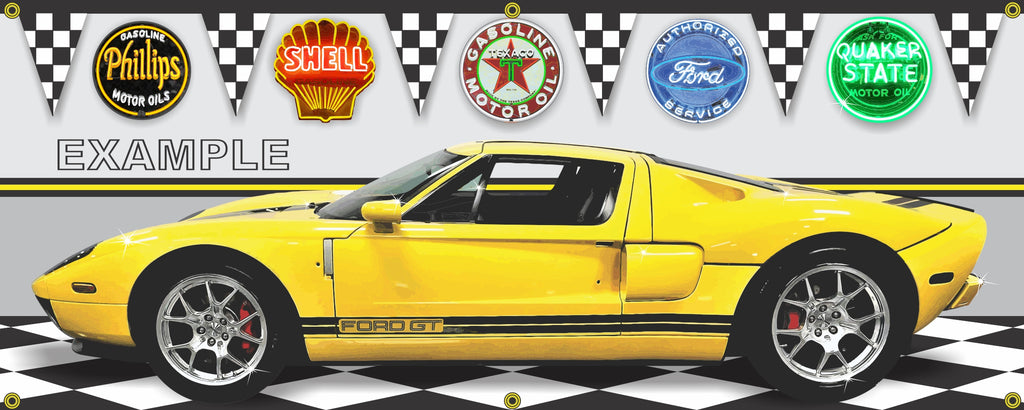 2006 FORD GT YELLOW SPORTS/SUPERCAR GARAGE SCENE SIDE VIEW BANNER SIGN CAR ART MURAL VARIOUS SIZES