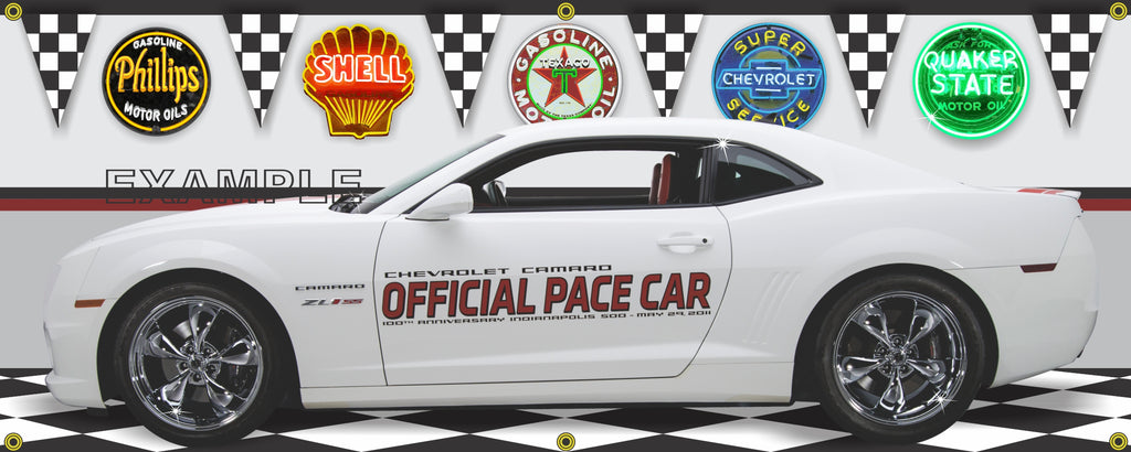 2011 Chevrolet Camaro SS ZL1 INDY 500 PACE CAR 100TH ANNIVERSARY WHITE CAR GARAGE SCENE SIDE VIEW BANNER SIGN ART MURAL VARIOUS SIZES