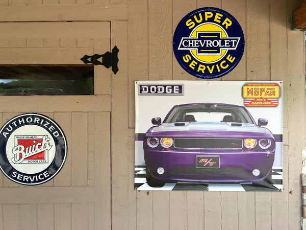 2014 DODGE CHALLENGER RT PLUM CRAZY GARAGE SCENE BANNER SIGN MURAL ART 4' X 3'