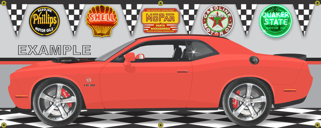 2016 DODGE CHALLENGER HELLCAT SHAKER HEMI ORANGE CAR GARAGE SCENE SIDE VIEW BANNER SIGN ART MURAL VARIOUS SIZES