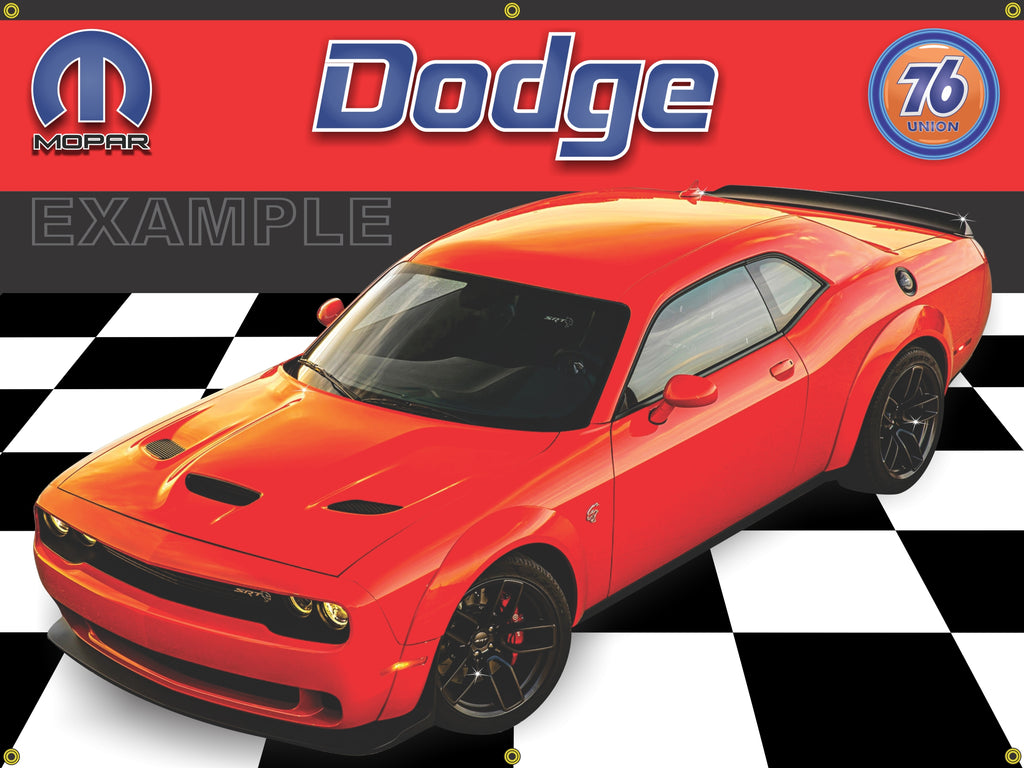 2018 DODGE SRT HELLCAT WIDEBODY GO MANGO ORANGE CAR GARAGE SCENE FRONT VIEW 3' X 4' BANNER SIGN CAR ART MURAL