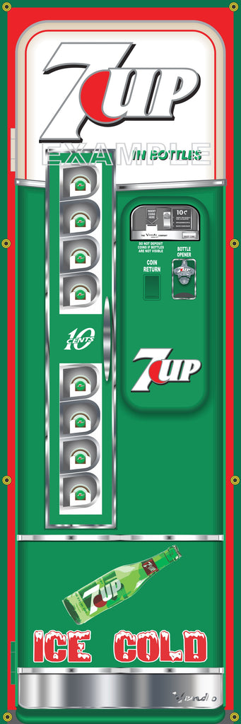 7-UP SODA POP OLD VINTAGE VENDO VENDING MACHINE STYLE BANNER 2' X 6' SIGN ART MURAL