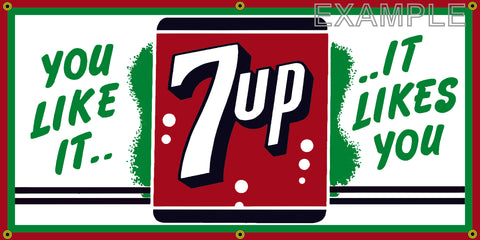 7UP SODA DRINK POP COLA SODA OLD SCHOOL SIGN REMAKE BANNER SIGN ART MURAL 2' X 4'/3' X 6'