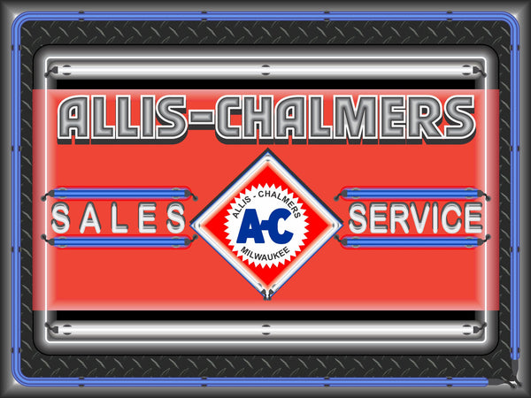 ALLIS CHALMERS SALES SERVICE DEALER LOGO Neon Effect Sign Printed Banner 4' x 3'