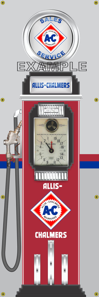 ALLIS CHALMERS FARM TRACTOR DIESEL GASOLINE OLD CLOCK FACE GAS PUMP Sign Printed Banner VERTICAL 2' x 6'