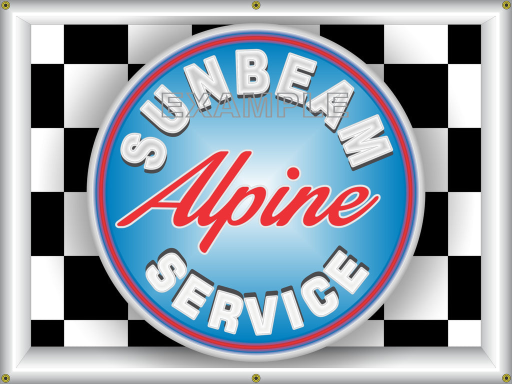 ALPINE SUNBEAM CARS SERVICE DEALER DIGITAL DESIGN SIGN REMAKE BANNER ART MURAL 3' X 4'