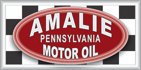 AMALIE MOTOR OIL GAS STATION SERVICE GASOLINE OLD SIGN REMAKE ALUMINUM CLAD SIGN VARIOUS SIZES