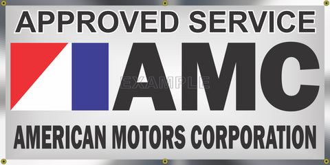 AMC AMERICAN MOTORS CORPORATION DEALER SALES SERVICE OLD SCHOOL SIGN REMAKE BANNER SIGN ART MURAL 2' X 4'/3' X 6'