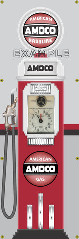 AMOCO GASOLINE CLOCK FACE GAS PUMP Sign Printed Banner VERTICAL 2' x 6'