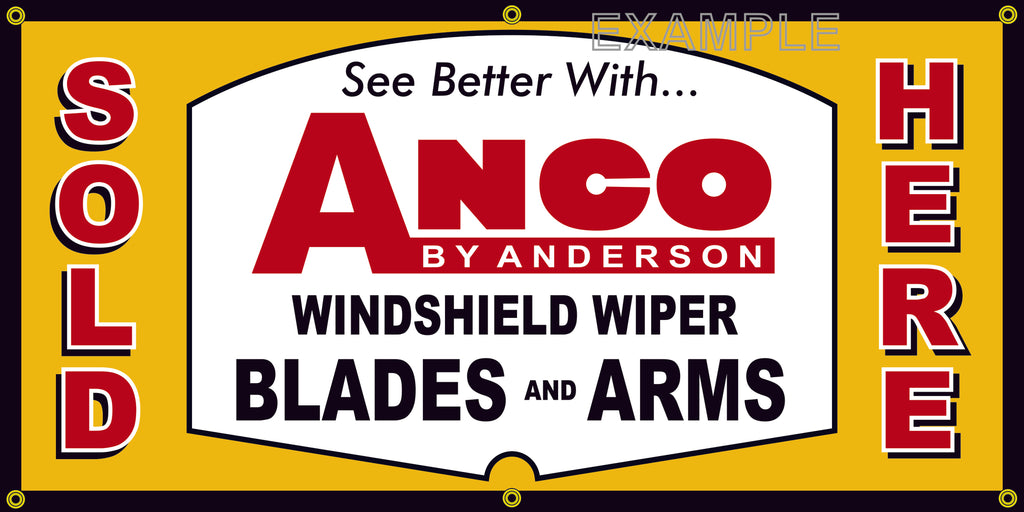 ANCO WINDSHIELD WIPER BLADES AND ARMS AUTOMOTIVE REPAIR SERVICE VINTAGE OLD SCHOOL SIGN REMAKE BANNER SIGN ART MURAL 2' X 4'/3' X 6'