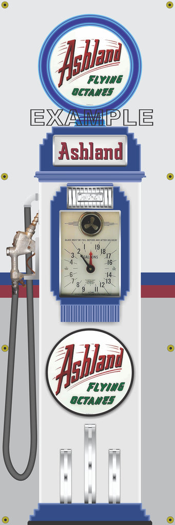 ASHLAND CLOCK FACE GAS PUMP Sign Printed Banner VERTICAL 2' x 6'