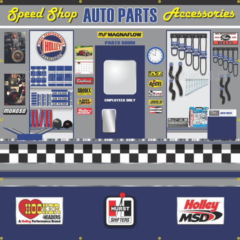 AUTO PARTS SALES SPEED SHOP DEALER GARAGE WALL MURAL SIGN BANNER ART VARIOUS SIZES