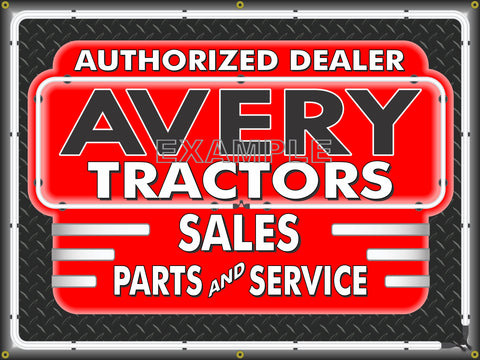 AVERY TRACTORS DEALER STYLE SIGN SALES SERVICE PARTS TRACTOR REPAIR SHOP REMAKE BANNER 3' X 4'