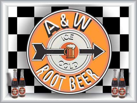 A & W ROOT BEER SIGN Neon Effect Sign Printed Banner 4' x 3'