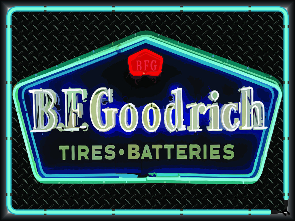 BF GOODRICH TIRES AND BATTERIES Neon Effect Sign Printed Banner 4' x 3'