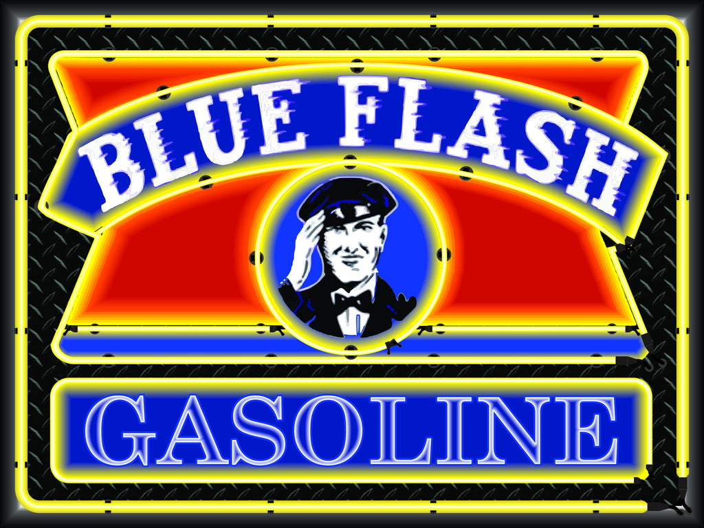 BLUE FLASH GASOLINE Neon Effect Sign Printed Banner 4' x 3'