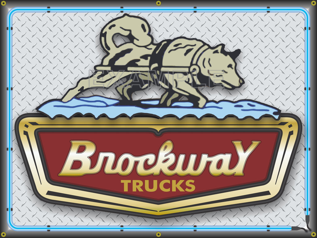 BROCKWAY TRUCKS DEALER SALES EMBLEM SIGN REMAKE BANNER ART MURAL 3' X 4'