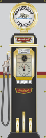 BROCKWAY TRUCKS OLD CLOCKFACE GAS PUMP DISPLAY BANNER SIGN ART MURAL DISPLAY 2' X 6'