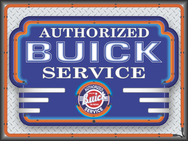 BUICK AUTHORIZED SERVICE MARQUEE Neon Effect Sign Printed Banner 4' x 3'