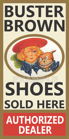 BUSTER BROWN SHOES GENERAL STORE VINTAGE OLD SCHOOL SIGN REMAKE BANNER SIGN ART MURAL 2' X 4'/3' X 6'