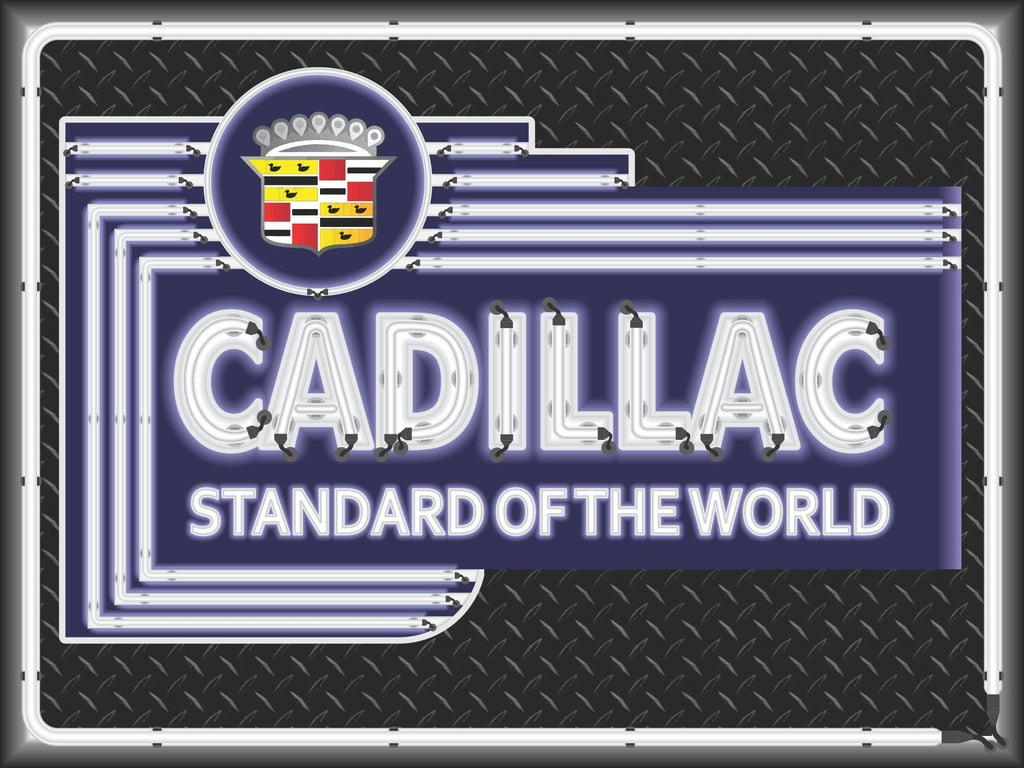 Cadillac Car Sales Dealer Marquee Neon Effect Sign Printed