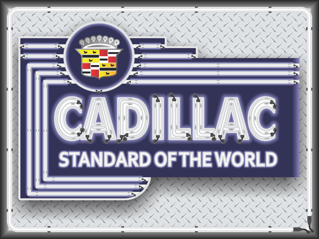 CADILLAC CAR SALES DEALER MARQUEE Neon Effect Sign Printed Banner 4' x 3'