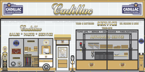CADILLAC SALES PARTS SERVICE DEALERSHIP RETRO SCENE WALL MURAL SIGN BANNER GARAGE ART VARIOUS SIZES