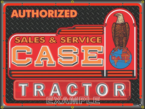 CASE TRACTOR DEALER LOGO Neon Effect Sign Printed Banner 4' x 3'