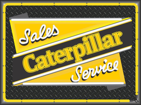 CATERPILLAR SALES & SERVICE Neon Effect Sign Printed Banner 4' x 3'