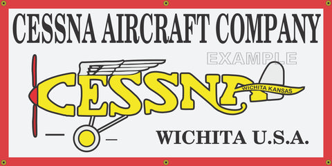 CESSNA AIRCRAFT COMPANY AIRPLANES VINTAGE OLD SCHOOL SIGN REMAKE BANNER SIGN ART MURAL 2' X 4'/3' X 6'/4' X 8'