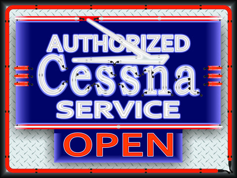 CESSNA AIRCRAFT AIRPLANE AVIATION DEALER MARQUEE Neon Effect Sign Printed Banner 4' x 3'