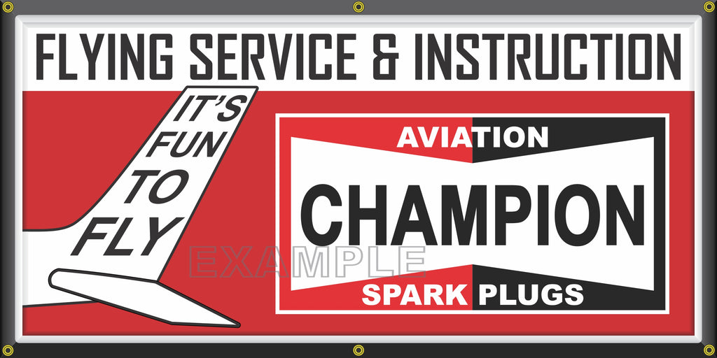 CHAMPION SPARK PLUGS AVIATION FLYING SERVICE VINTAGE OLD SCHOOL SIGN REMAKE BANNER SIGN ART MURAL 2' X 4'/3' X 6'