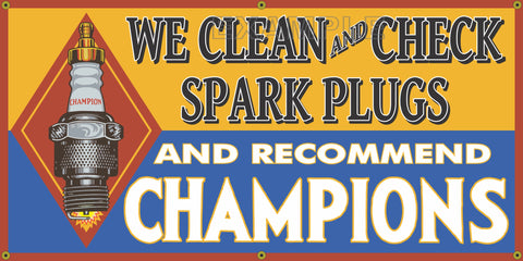 CHAMPION SPARK PLUGS VINTAGE OLD SCHOOL SIGN REMAKE BANNER SIGN ART MURAL 2' X 4'/3' X 6'
