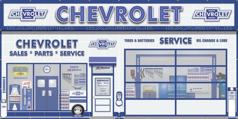 CHEVROLET AC DELCO SALES PARTS SERVICE DEALERSHIP RETRO SCENE WALL MURAL SIGN BANNER GARAGE ART VARIOUS SIZES