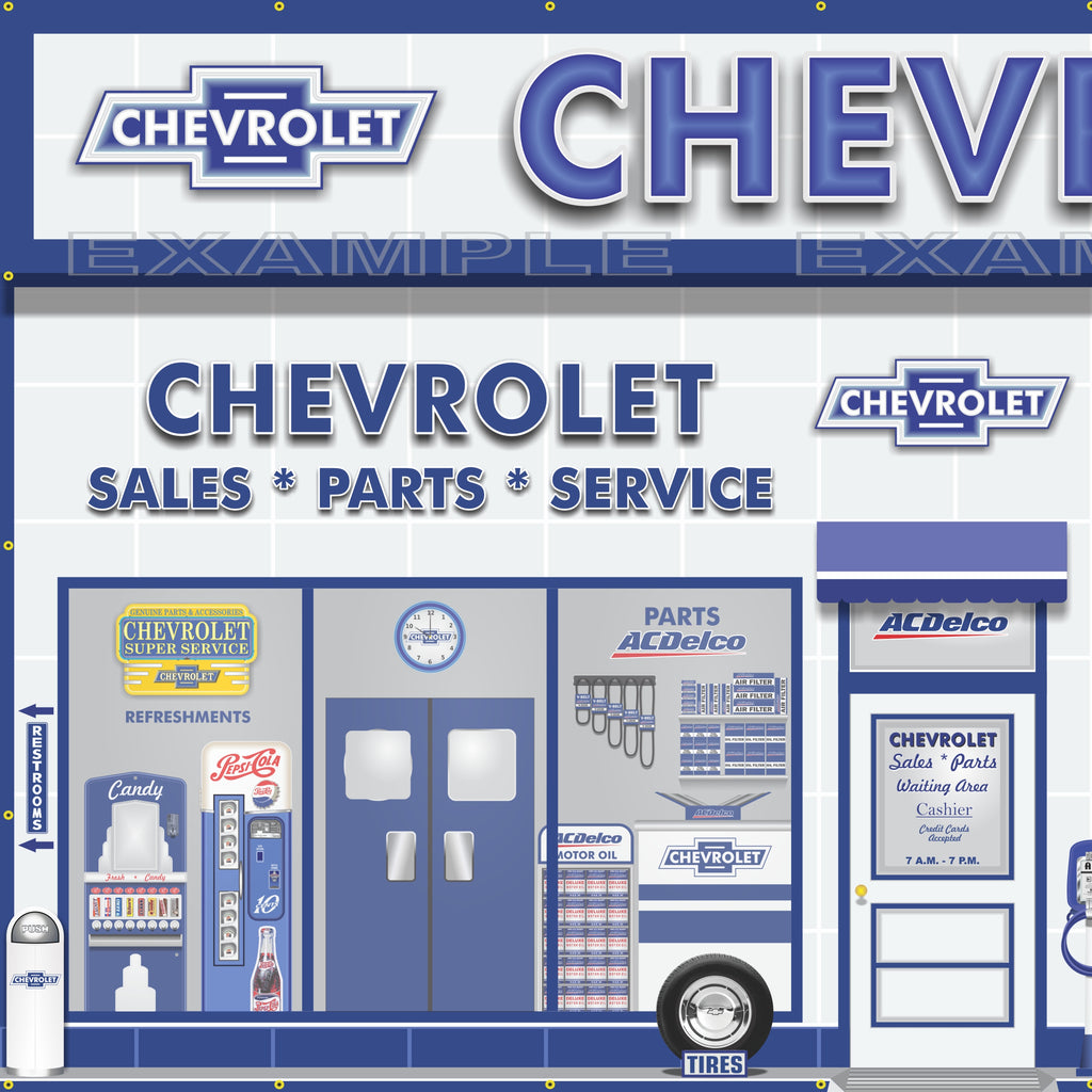 Chevrolet ac delco sales parts service dealership retro scene wall mur revved up banners