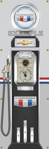 CHEVROLET CAMARO GASOLINE OLD CLOCK FACE GAS PUMP Sign Printed Banner VERTICAL 2' x 6'