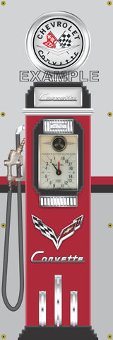 CHEVROLET CORVETTE GASOLINE OLD CLOCK FACE GAS PUMP Sign Printed Banner VERTICAL 2' x 6'