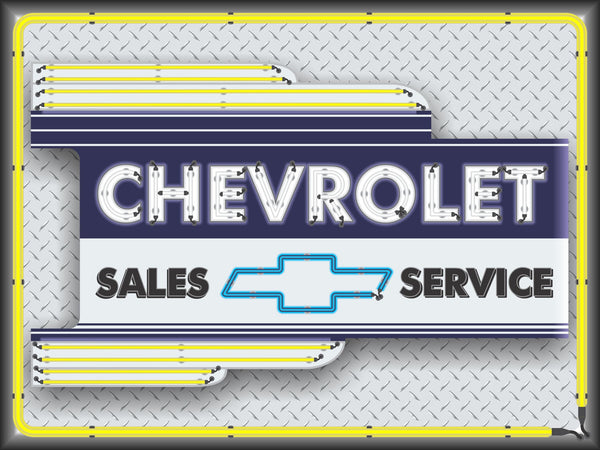 CHEVROLET CAR SALES DEALER OLD REMAKE MARQUEE Neon Effect Sign Printed Banner 4' x 3'