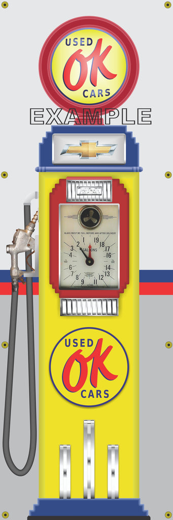 CHEVROLET OK USED CARS GASOLINE OLD CLOCK FACE GAS PUMP Sign Printed Banner VERTICAL 2' x 6'
