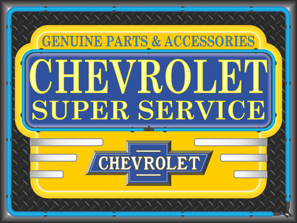 CHEVROLET SUPER SERVICE MARQUEE Neon Effect Sign Printed Banner 4' x 3'