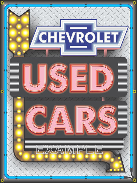 CHEVROLET USED CARS ARROW MARQUEE SIGN REMAKE BANNER GARAGE ART MURAL 3' x 4' VARIOUS BACKGROUNDS