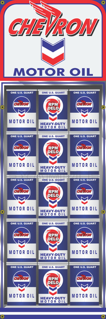 "CHEVRON OIL CAN RACK DISPLAY GAS STATION PRINTED BANNER SIGN MURAL ART 20"" x 60"""