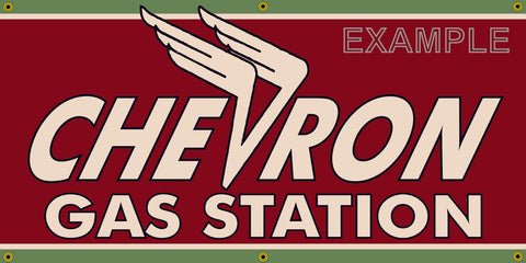 CHEVRON GAS STATION VINTAGE OLD SCHOOL SIGN REMAKE BANNER SIGN ART MURAL 2' X 4'/3' X 6'