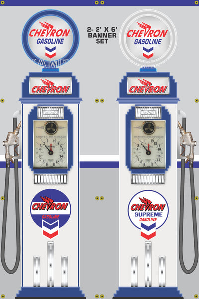 CHEVRON GASOLINE CLOCK FACE GAS PUMPS GAS STATION DISPLAY PRINTED BANNER 2' x 6' SINGLES OR SET