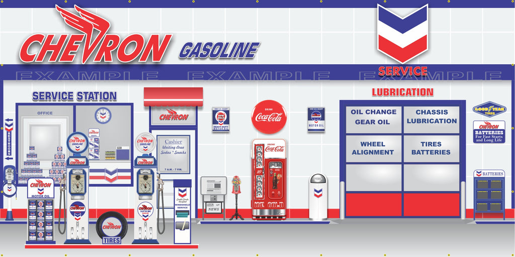 CHEVRON RETRO OLD GAS PUMP GAS STATION SCENE WALL MURAL SIGN BANNER GARAGE ART VARIOUS SIZES