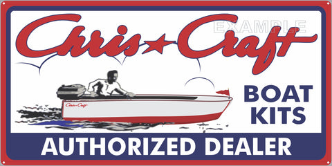 CHRIS CRAFT BOAT KITS AUTHORIZED DEALER MARINE WATERCRAFT OLD SIGN REMAKE ALUMINUM CLAD SIGN VARIOUS SIZES