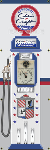 CHRIS CRAFT BOATS TOKHEIM OLD CLOCKFACE GAS PUMP BANNER SIGN ART MURAL DISPLAY 2' X 6'
