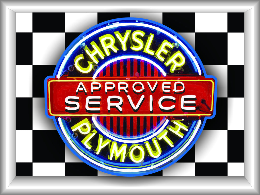CHRYSLER PLYMOUTH APPROVED SERVICE Neon Effect Sign Printed Banner 4' x 3'