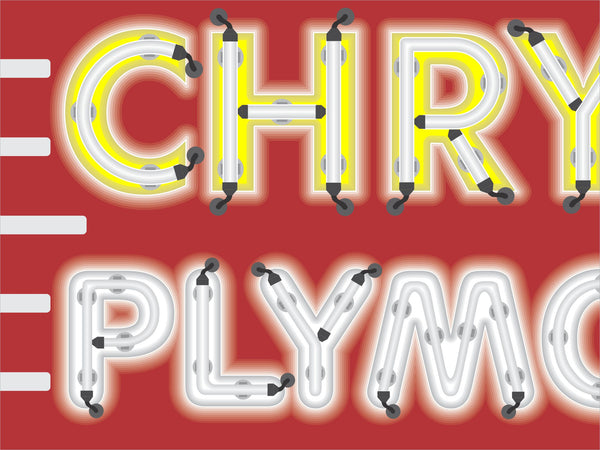 CHRYSLER PLYMOUTH CAR SALES DEALER MARQUEE Neon Effect Sign Printed Banner 4' x 3'