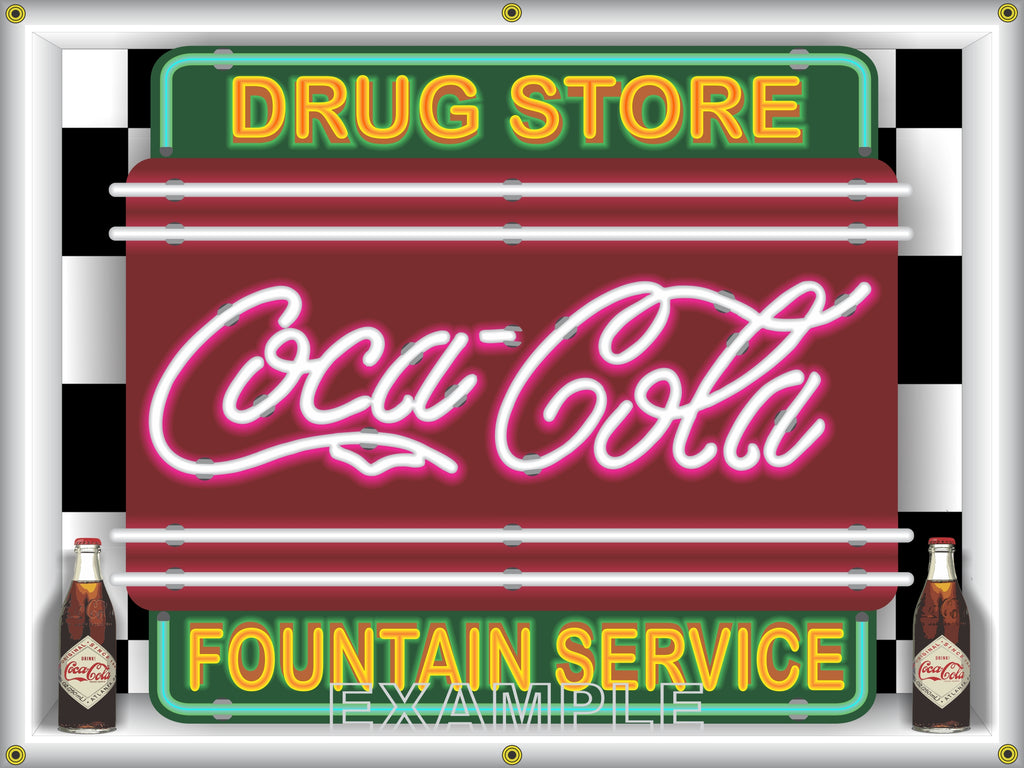 COKE COCA-COLA DRUGSTORE FOUNTAIN SERVICE Neon Effect Sign Printed Banner 4' x 3'